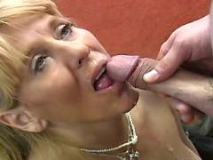Blonde mature sucking and fucking