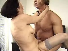 Boss fucks old secretary in office