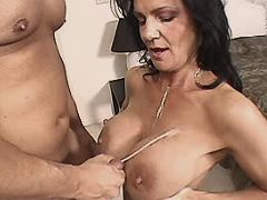 Mom gets cumshot on tits
