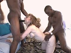 Lewd milf fucking w two blacky guys