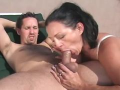 Milf sucks appetizing cock on court