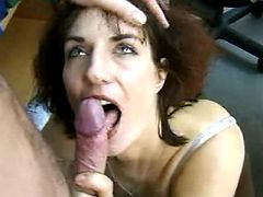 Mature secretary slobbers her boss