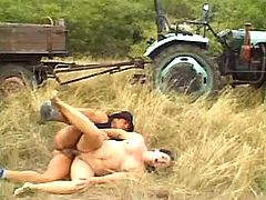 Old mature fucks in field