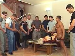 Gang of studs line up to screw milf