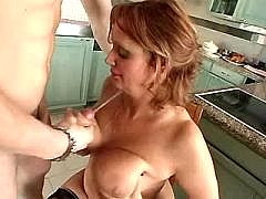 Mature woman gets cumload on big tits