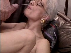 Aged mature gets facial