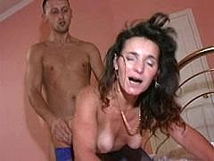 Lewd mom fucks from behind and gets facial