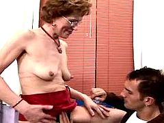 Mom gets cumshot on red stockings