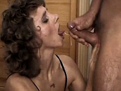 Mature gets cum after sex