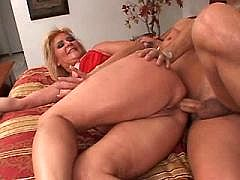 Chubby mature gets hard cock into asshole