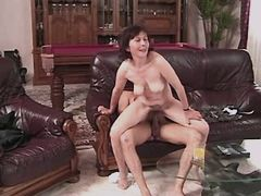 Old mature fucks on sofa